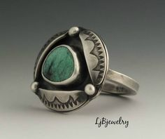 awesome Turquoise Ring, Sterling Silver Ring, Metalsmith Jewelry, Handmade Jewelry, Statement Ring