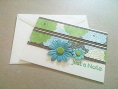 Blank Card Just a Note Blue Green Flowers by MayQueenCrafts, $3.00