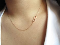 Rose Gold Infinity Necklace Off Side Infinity by UESAtelier, $28.00