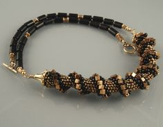 Black and Gold Cube Cellini Spiral Necklace