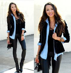 black with a pop of chambray.love this