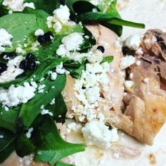 Spinach and salmon wrap with feta and peppercorns. #yum #lunch #salmon #spinach #peppercorn #homecooked