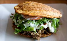 Patacon: Venezuelan sandwich made w/fried plantain instead of bread. Brilliant!