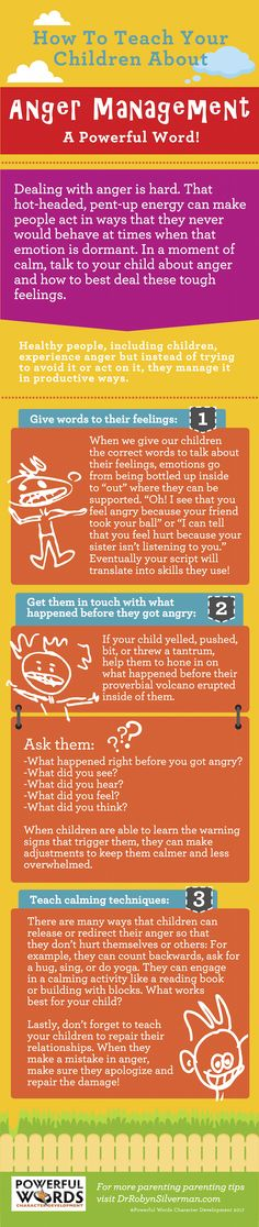 Talk to Your Kids About Anger Management | Teaching | Infographic | Powerful Words Character Development | Child Development
