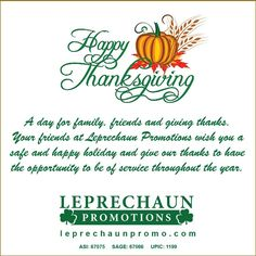 Happy Thanksgiving from Leprechaun Promotions
