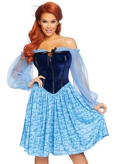 Mermaid On Land Blue Velvet Sheer Chiffon Long Sleeve Off The Shoulder Flare A Line Mini Dress Halloween Costume - Sold Out Sexy Halloween Costumes, Cute Costumes, Halloween Dress, Adult Costumes, Costumes For Women, Halloween Rave, Disney Halloween, Funny Halloween, Mermaid Dress Costume