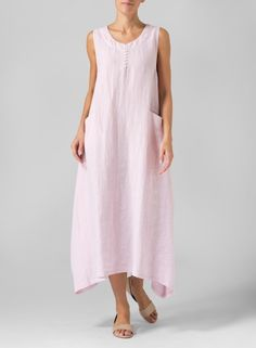 Linen Sleeveless Long Dress Soft Pink