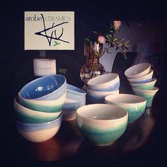 Vasos tazas y tazones de porcelana. AROBE CERÁMICA.