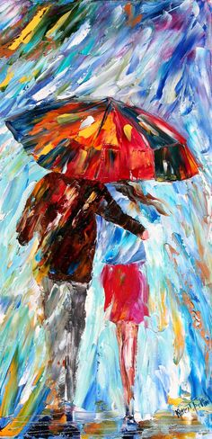 Original oil painting RAIN Romance palette knife by Karensfineart...really like this one. I like the colors, the way he's holding her