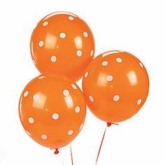 Orange Polka Dot Latex Balloons