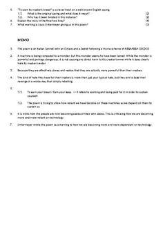 Portrait of a Machine Worksheets by Mr Van Niekerk's CAPS English Resources