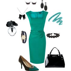 Turquoise dress with black accents, created by tsteele