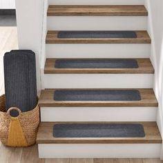 Tucker Murphy Pet Beardsley Scrape Rib Non-Slip Stair Tread Colour: Grey Carpet Stair Treads, Carpet Stairs, Hardwood Stairs, Porch Steps, Shag Carpet, Beige Carpet, Slip And Fall, Key Design, Rug Sale