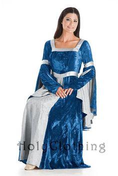 Guinevere Square Neck Renaissance Princess Medieval Velvet Dress from Holy Clothing