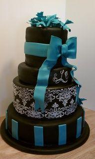 teal black and white wedding cake