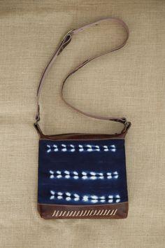Brown Leather Shoulder Bag with Indigo Cloth