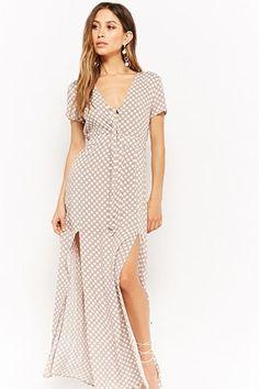 Polka Dot Tie-Front Maxi Dress