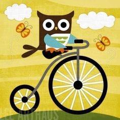 Bright Owl on Bicycle