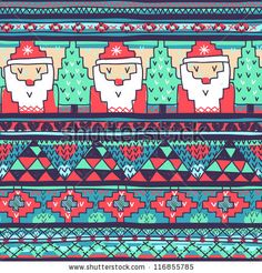 stock vector : Christmas vector seamless pattern with knitted Santa