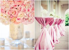 The flower arrangements are gorgeous and the pink wrapped tables pull in a more romantic feeling to all the wedding decorations...