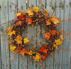 Fall Wreath - Wreath for Fall - Grapevine Wreath with Bright Fall Leaves and Realistic Bittersweet Diy Wreath, Grapevine Wreath, Wreath Ideas, Door Wreaths, Autumn Crafts, Autumn Wreaths, Thanksgiving Decorations, How To Make Wreaths, Fall Halloween