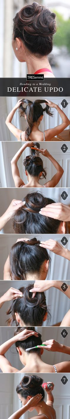 With some twist pin wizardry, whip up this wedding-ready updo with Jean of Extra Petite! Gather hair into a high ponytail (lightly curling it will this style easier.) Divide pony into three sections & clip two aside. Twist the first section into a loose, undone bun & use a twist pin to keep in place. Repeat with each section. Spray a clean toothbrush with Tresemmé Keratin Smooth Hairspray & brush baby hairs up, away from the neck. Finish with more hairspray for all-night shine!