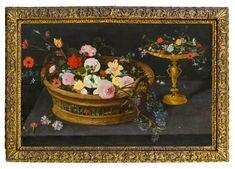 Jan Brueghel der Jüngere (1601 - 1678) Blumenkorb u. Tazza, 1640er Jahre 53,5 × 82,5 cm Verkauft um: 277.200€ Modern Art, Contemporary Art, Flower Basket, Art Nouveau, Auction, Design Ideas, Antiques, Artwork, Flowers