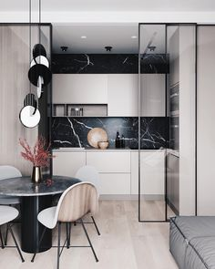 contemporary kitchen A small kitchen is separated from the living room dining room combo by a set of Apartment Interior, Apartment Design, Home Interior, Kitchen Interior, Kitchen Decor, Diy Kitchen, Kitchen Layout, Kitchen Living, Kitchen Ideas