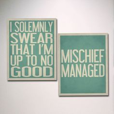 """Typography Art / TWO 11"""" x 14"""" Poster Prints / Wall Art Set of 2 / I Solemnly Swear That I'm Up To No Good / Mischief Managed on Etsy, $36.00"""