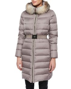 Fabrefox Fur-Trim Puffer Coat with Belt, Women's, Size: 3, Brown - Moncler