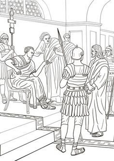Jesus Before Pilate coloring page from Good Friday category. Select from 25445 printable crafts of cartoons, nature, animals, Bible and many more. Bible Coloring Pages, Free Printable Coloring Pages, Sunday School Crafts, Sunday School Activities, Free Bible Images, Bible Doodling, Bible Illustrations, Easter Story, Life Of Christ