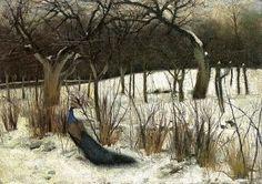 """Józef Czajkowski (1872-1947) """"Paw w ogrodzie""""(Peacock in a Garden), 1901  Polish #painting"""