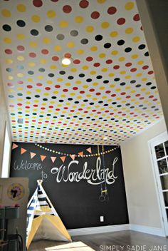 Chalk wall with a fun ceiling