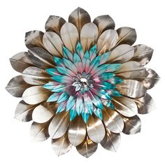 Metal flower wall decor in silver and blue. Product: Wall décorConstruction Material: MetalColor: Silver, purple and blueDimensions: Diameter x D Metal Flower Wall Decor, Tree Wall Decor, Metal Flowers, Diy Wall Decor, Room Decor, Wrought Iron Wall Decor, Contemporary Metal Wall Art, Diy Décoration, Rustic Walls