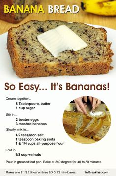 How To Make Banana Bread - just baked this today; so easy and turned out delicious. I used very ripe bananas, baked at for 55 minutes. Perfectly brown on the outside, moist on the inside. Also, a (Banana Recipes Easy) Just Desserts, Delicious Desserts, Yummy Food, East Dessert Recipes, Picnic Recipes, Baking Desserts, Health Desserts, Dinner Recipes, Banana Bread Recipes