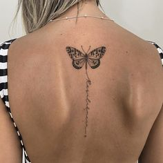 Delicate Tattoos For Women, Butterfly Tattoos For Women, Spine Tattoos For Women, Tiny Tattoos For Girls, Cute Tattoos For Women, Simplistic Tattoos, Dainty Tattoos, Butterfly Tattoo Designs, Dope Tattoos