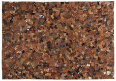 """Tappeto cm 230x160 in pelle multicolore con lavorazione etichette """"patchwork"""""""