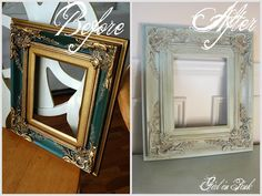 Before and after picture frame done with Chalk Paint® decorative paint by Annie Sloan.