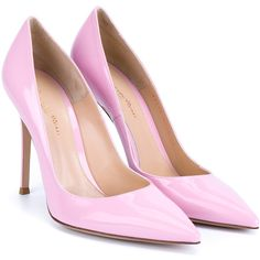 Gianvito Rossi Patent Point-Toe Pumps ($690) ❤ liked on Polyvore featuring shoes, pumps, light pink pumps, patent pointy toe pump, pointed-toe pumps, patent leather pointed toe pumps and pointed toe high heels stilettos