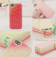 "milky-lait: Strawberry IPhone 4/5 Case from http://hhotaru.storenvy.com/ use the code ""maya10"" to get a 10% discount on any item!!"
