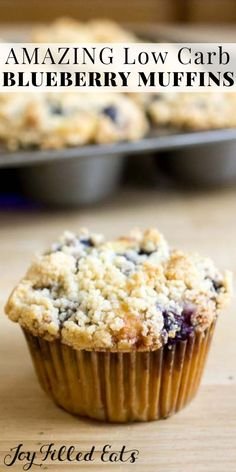 Blueberry Muffins with Crumb Topping - Low Carb Keto Sugar-Free Dairy-Free Gluten-Free Grain-Free THM S - These blueberry muffins with crumb topping are the perfect grab-and-go snack or make-ahead breakfast. If you are looking for a healthy and whol Dairy Free Bread, Dairy Free Snacks, Dairy Free Breakfasts, Dairy Free Recipes, Low Carb Recipes, Diet Recipes, Yummy Recipes, Gluten Free Grains, Snacks Recipes