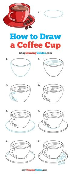 How to Draw a Coffee Cup - Really Easy Drawing Tutorial - - Learn to draw a coffee cup. This step-by-step tutorial makes it easy. Kids and beginners alike can now draw a great looking cup of coffee. Easy Drawing Tutorial, Drawing Tutorials For Kids, Drawing For Beginners, Drawing For Kids, Coffee Cup Drawing, Coffee Doodle, Coffee Cup Art, Coffee Png, Ceramic Coffee Cups