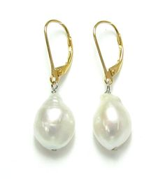 Baroque Pearl drop earrings, pearl dangle Earrings, Freshwater pearl earrings, with Solid Sterling Silver lever back