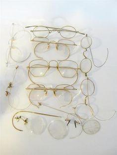 Vintage lot Wire Rim Glasses Antique Eyeglasses Some 12k GF Gold Spectacles $0.99 starting price!