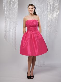 A-line scalloped-edge neckline taffeta bridesmaid dress