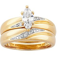 1.3 Carat T.G.W. Marquise-Cut CZ and Diamond Accent 18kt Gold-Plated Wedding Ring Set