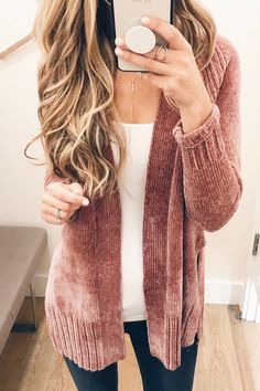 pink fall sweaters - pinterestingplans in chenille loft cardigan and white camisole