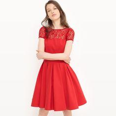 3ab151d514 Vestido evasé liso de manga corta rojo Mademoiselle R