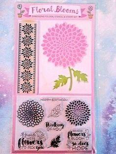 FLORAL BLOOMS 10 Piece Stencil & Stamp Set Embossing Folder Stamping Card Making #PracticalPublishingInternationalLtd #CardMakingSetEmbossingFolderStampSet