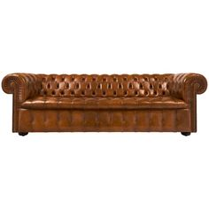 Vintage English Cognac Leather Chesterfield Sofa | From a unique collection of antique and modern sofas at https://www.1stdibs.com/furniture/seating/sofas/